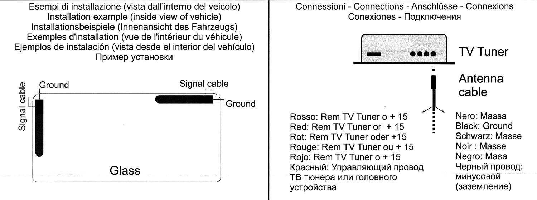 схема подсоеденения антены тв в машине